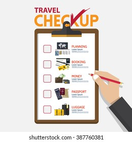 The concept of infographic for travel planning on checkup board in flat design. Hand holding pencil. Vector Illustration
