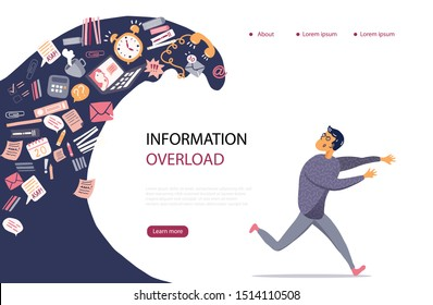 Concept of Information Overload, Digital hygiene, Stress. Overwhelmed person running away from the information stream wave pursuing him. Vector illustration in flat style.