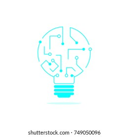 concept of information technology logo. lightbulb icon