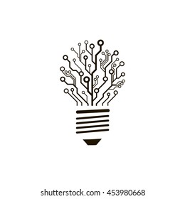 A concept of information technology logo. Vector circuit board bulb. Creative engineering thinking sign