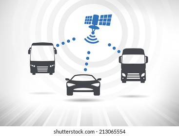 Concept with intelligent vehicles connected via satellite. Vehicles in front view. Fully scalable vector illustration.