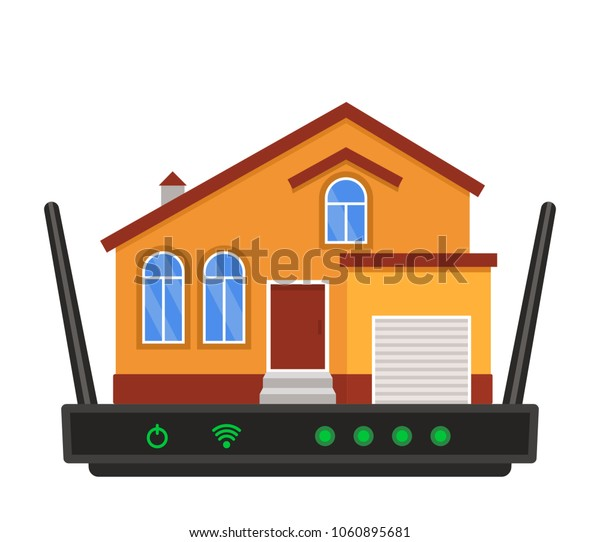 The concept of Internet connection of a residential building. Wireless Internet wi-fi with the house. flat vector illustration isolated on white background