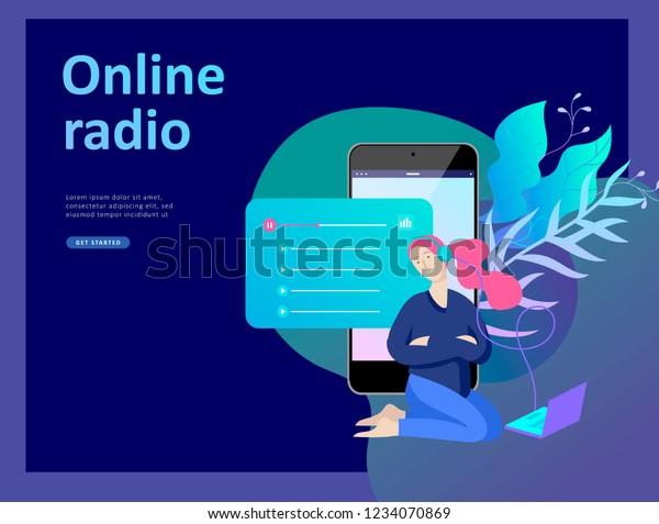 Concept Internet Online Radio Streaming Listening Stock