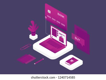 Concept of Internet payment, mobile purchase. Online shopping. Isometric image of laptop, bank card and phone. Vector illustration.