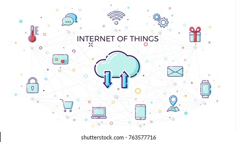 Concept Internet of things. Cloud network concept for connected smart devices. Vector illustration of IoT and network connections icons in white background