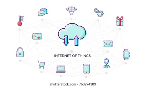 Concept Internet of things icon. Thin line flat design element fot IOT. Smart home concept. Vector illustration isolated on white background