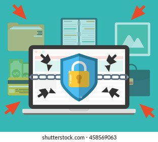 Concept of internet-information security, data protection, computer protect. Flat vector illustration.