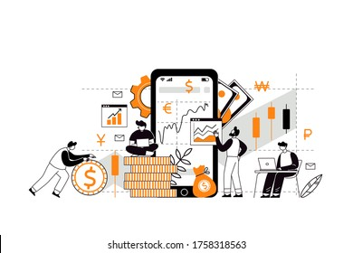 The concept of investment and income multiplying. Buying shares and funds. Investor strategy, financing concept. The characters analyze the stock market with the help of an investment broker.