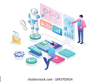 The concept of isometric flat illustration. a perform analyst with a robot