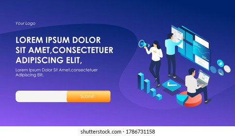the concept of isometric flat illustration, working as a website developer, adsense, and SEO optimization, digital marketing strategy