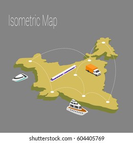 The concept of isometric map of India.Isometric map of world cargo transportation