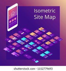 Concept of isometric website flowchart sitemap. Vector illustration.