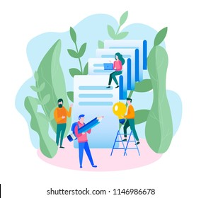 Concept issue of a check, decryption of a document for web page, banner, presentation, social media, documents, cards, posters. Vector illustration a successful team. Ordinary payment , development