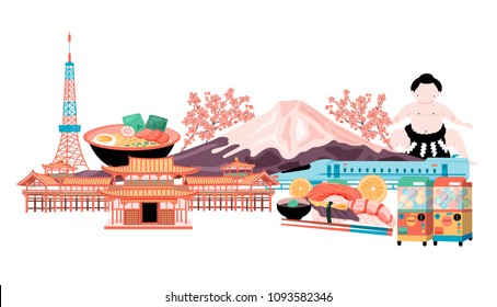 The concept of Japan travel with tokyo tower, fuji mountain, cherry blossom, sumo, ramen, temple, shinkanzen , Gashapon, and sushi, all in colorful flat style, white background