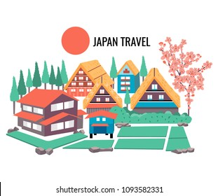 The concept of Japanese tourism with the illustration of famous old village named Shirakawa-go, and cherry blossom, all in colorful flat style,white background