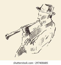 Concept for jazz poster. Man playing flute. Vintage hand drawn illustration, sketch.