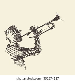 Concept for jazz poster. Man playing the trumpet. Vintage hand drawn illustration, sketch.