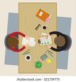 Concept of job interview. Business meeting. Flat design, vector illustration