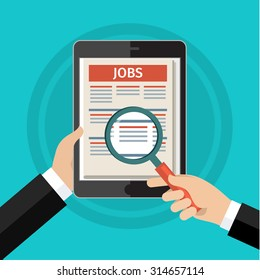 Concept of job searching. Hand holding tablet and loupe. Flat design, vector illustration.