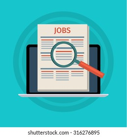 Concept of job searching. Laptop with newspaper and loupe on screen. Flat design, vector illustration.