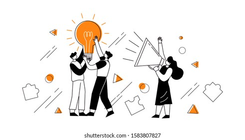 The concept of joint teamwork, building a business team. Vector illustration of working characters, holding a light bulb in their hands like a metaphor for ideas.