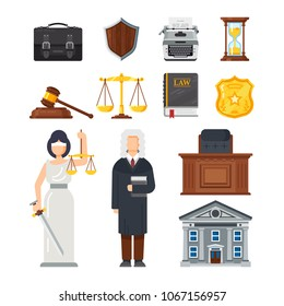 Concept of the judicial system. Judges portfolio, shield security guarantee, printing machine, hourglass, symbols of justice and balance, courthouse, judge and statue of justice. Vector illustration.