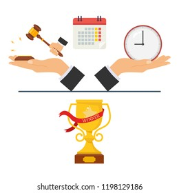 The concept of judicial time, court hearing, time in a court case, time in court, court case victory. Vector illustration.