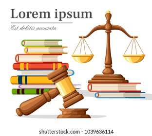 Concept justice in cartoon style. Justice scales and wooden judge gavel. Law hammer sign with books of laws. Legal law and auction symbol. Vector illustration isolated on white background