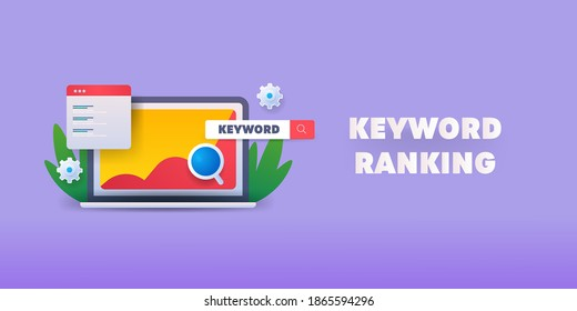 Concept of Keyword ranking, Keyword analysis, SEO keyword optimization - vector illustration with icons on isolated background