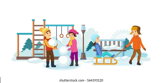 Concept - kids favorite winter activities. The children play in the playground, sledding, making snowmen, having fun and smiling. Vector illustration. Can be used in banner, mobile app.