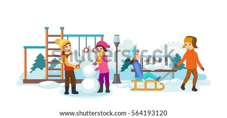 Concept Kids Favorite Winter Activities Children Stock Vector