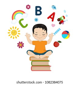 Concept of kids imagination. Cartoon style illustration isolated on white background.