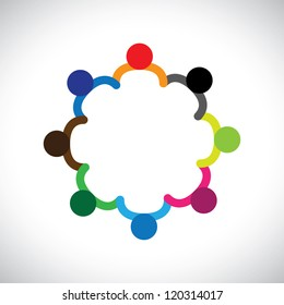 Concept of kids playing, teamwork and diversity. The logo template contains kids holding hands & forming a circle & can also represent concept of corporate team and teamwork & also people diversity