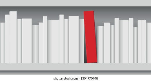 Concept of knowledge with a red book tidied on a bookshelf in the middle of white books of different sizes.