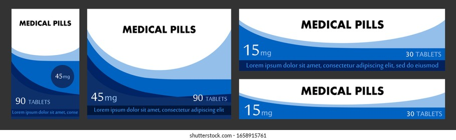 Concept of label pack for medicinal tablets. Design boxes for packaging medical products. For tablets, capsules. Set of stickers for cardboard boxes, cans, containers. Vector