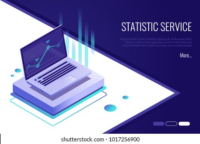 Concept of landing page . Analysis data and Investment. Business success.Financial review with laptop and infographic elements. 3d isometric flat design. Vector illustration.