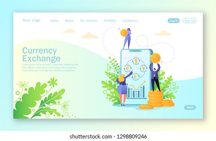 Concept of landing page for mobile website development and web page design. Concept of mobile currency exchange service. Business people changes currency using smartphone. Online banking.