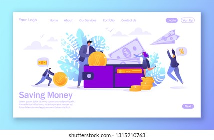 Concept of landing page on business and finance, saving money theme. Career, salary, earnings profit. Flat characters collecting money into the wallet.Saving money concept for mobilewebsite, web page.