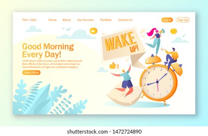 Concept of landing page on daily morning life and routine theme. Morning wake up alarm and happy, people characters rejoice at the beginning of a new day. Vector illustration for mobile website design