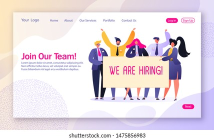 Concept of landing page on recruitment and agency interview theme. Template for website or web page with happy, affable business people holding hiring banner. Characters offer to join their team.