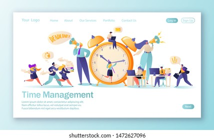 Concept of landing page on time management theme. Template for website or web page with office workers and business people working overtime.  Time management on the road to success. Effective teamwork