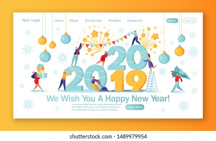 Concept of landing page on winter holidays theme. Small flat people characters preparing for the New Year, thay change numbers 21019 for 2020. Happy people in anticipation of the holiday.