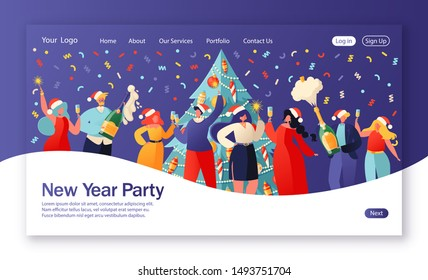 Concept of landing page on winter holidays theme. Website layout with flat people characters celebrating New Year against background of a large beautiful decorated Christmas tree. Party, corporate.
