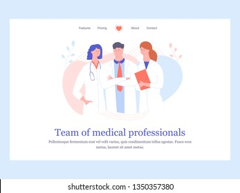Concept landing page template. Team of medical professionals. Three doctors are standing nearby. Vector illustration.