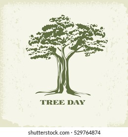 Concept of landscape design.Silhouette of tree with foliage on kraft paper background.Organic Sign,logo.