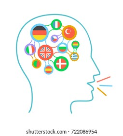 concept of language learning in the form of a silhouette of a man with interrelated flags of different countries and his communication in different languages. icon in a linear style
