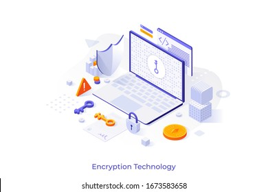 Concept with laptop computer, cryptographic protocol, shield, lock and key. Encryption technology, secure data transmission, protection of information. Modern isometric vector illustration.