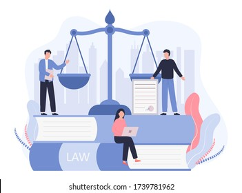 Concept Law, Justice. Legal service, services of a lawyer, notary. Men against the backdrop of the city discuss legal issues, a woman works on a laptop. Vector flat illustration on a white background