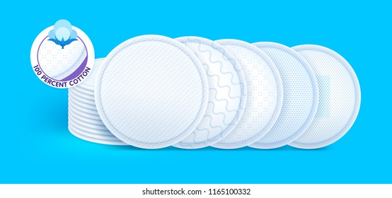 Concept layers with different texture and icons for skin care, cosmetic cotton pads while offering excellent soft protection and comfort. Vector eps10.