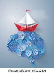 Concept of leader vision and thinking, paper boat sailing float on the brain gear,paper art and  digital craft style